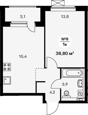 2-комнатная 40 м<sup>2</sup> на 18 этаже
