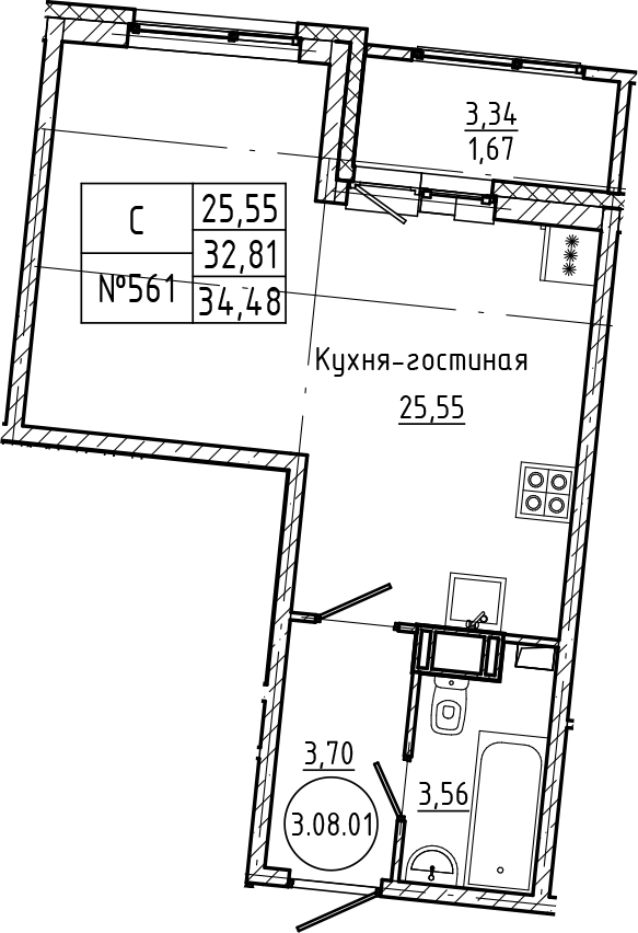 Студия 36 м<sup>2</sup> на 8 этаже