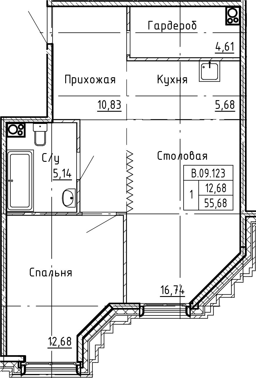 2-комнатная 55 м<sup>2</sup> на 9 этаже