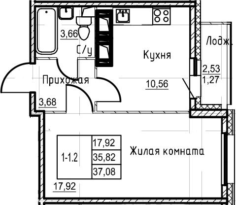 1-комнатная 38 м<sup>2</sup> на 20 этаже