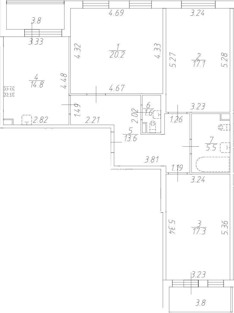 3-комнатная 97 м<sup>2</sup> на 1 этаже