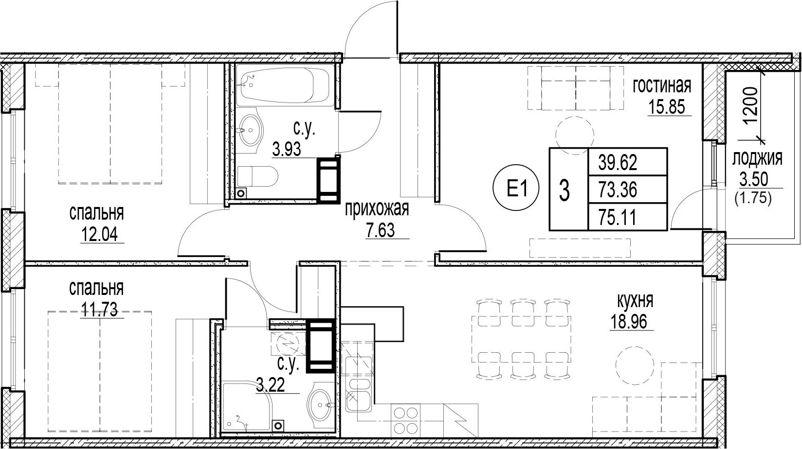 3-комнатная 76 м<sup>2</sup> на 3 этаже