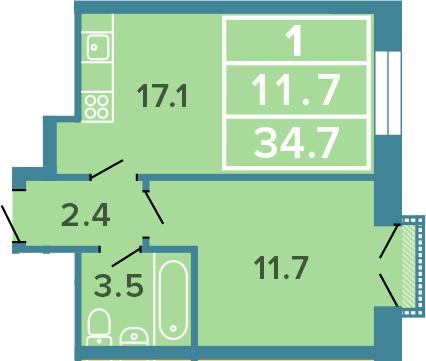 2-к.кв (евро), 34.7 м²