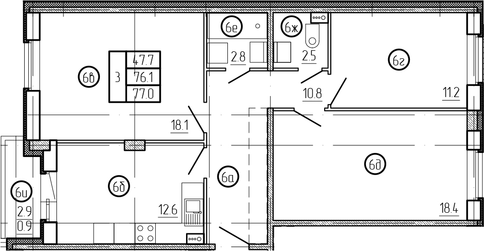 3-комнатная 79 м<sup>2</sup> на 1 этаже