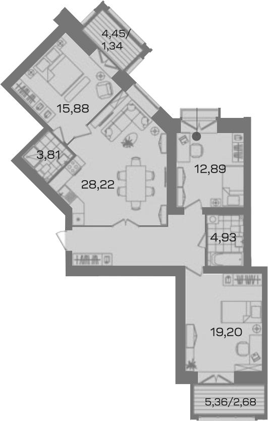3-комнатная 109 м<sup>2</sup> на 3 этаже