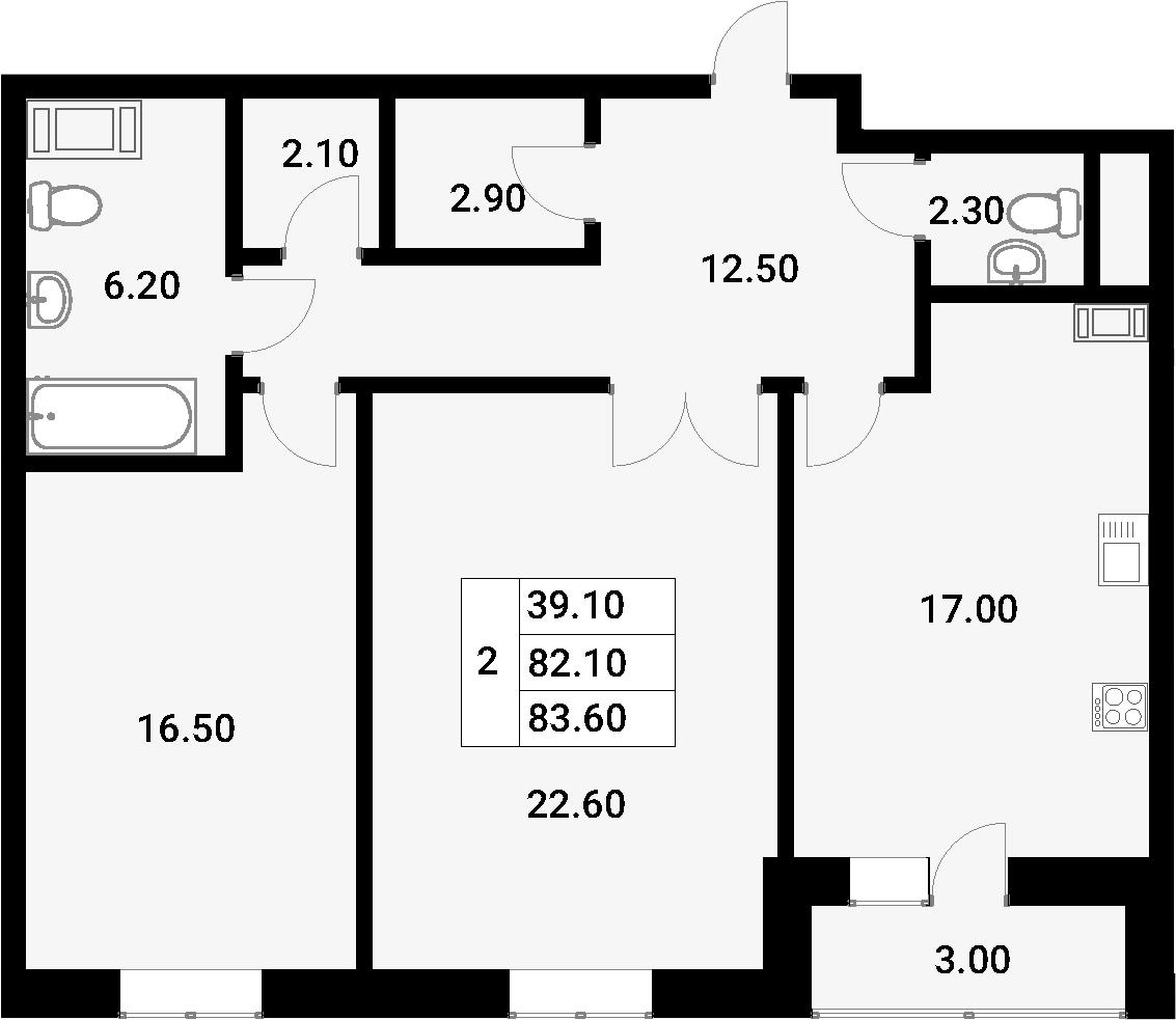 2-к.кв, 85.1 м²