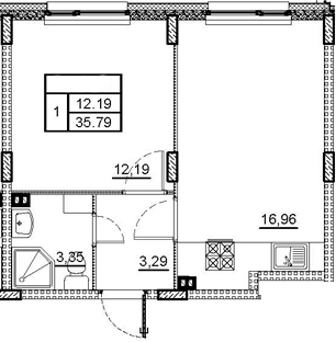 2-комнатная 35 м<sup>2</sup> на 2 этаже