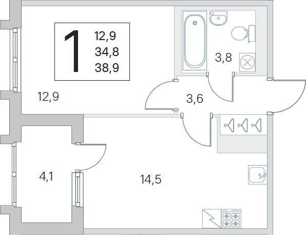 1-комнатная 38 м<sup>2</sup> на 4 этаже