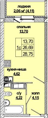 Студия, 30.9 м²