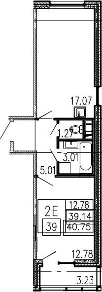 2-к.кв (евро), 42.37 м²