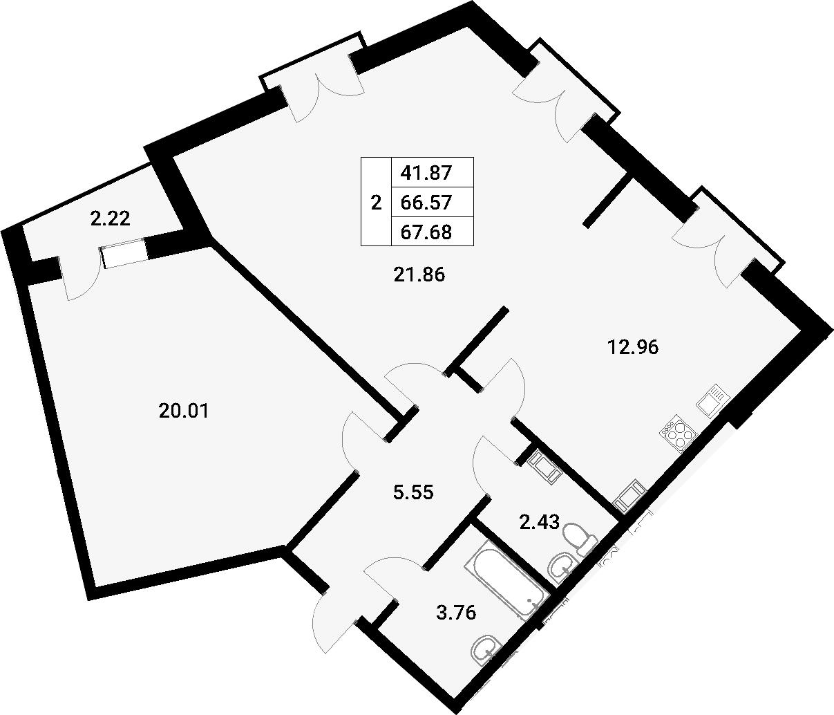 2-комнатная 70 м<sup>2</sup> на 2 этаже