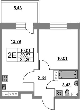 2-комнатная 36 м<sup>2</sup> на 9 этаже