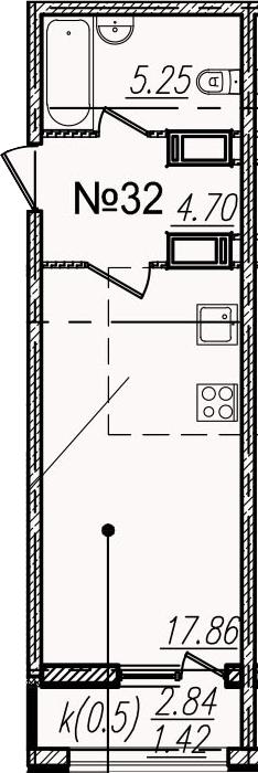Студия, 30.65 м²