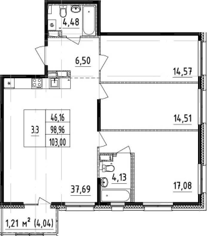 4-комнатная 103 м<sup>2</sup> на 5 этаже