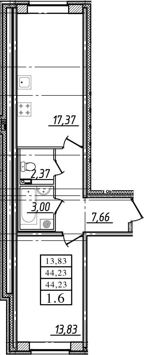 2-к.кв (евро), 44.23 м²
