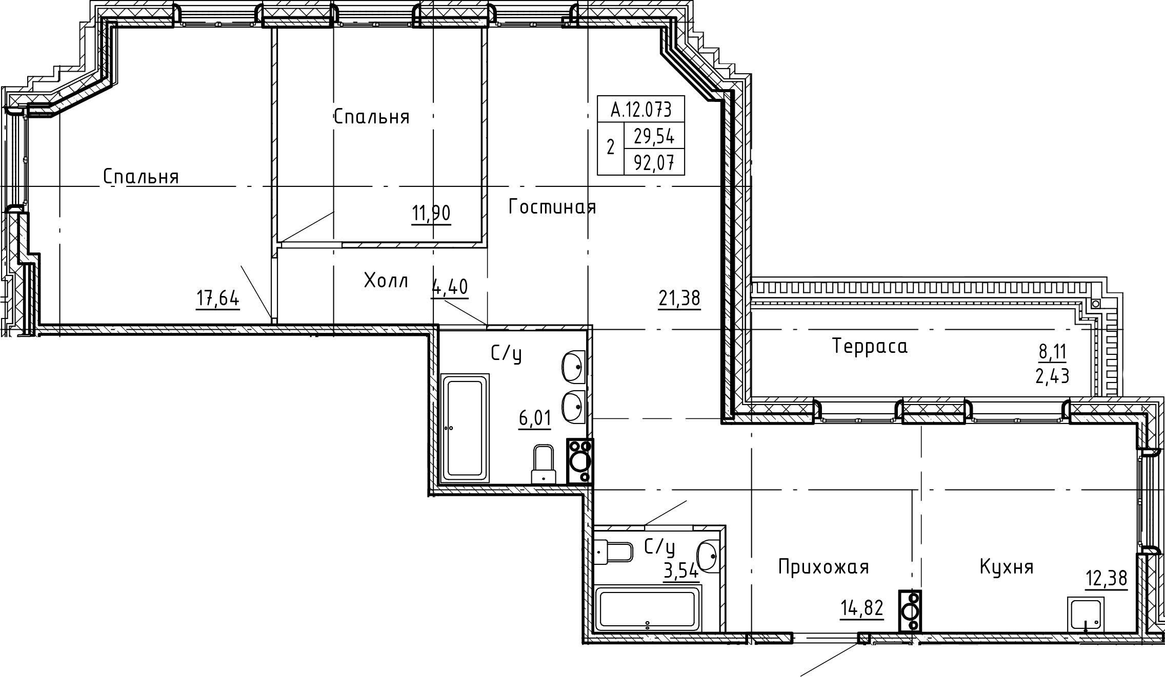 4-комнатная 100 м<sup>2</sup> на 12 этаже