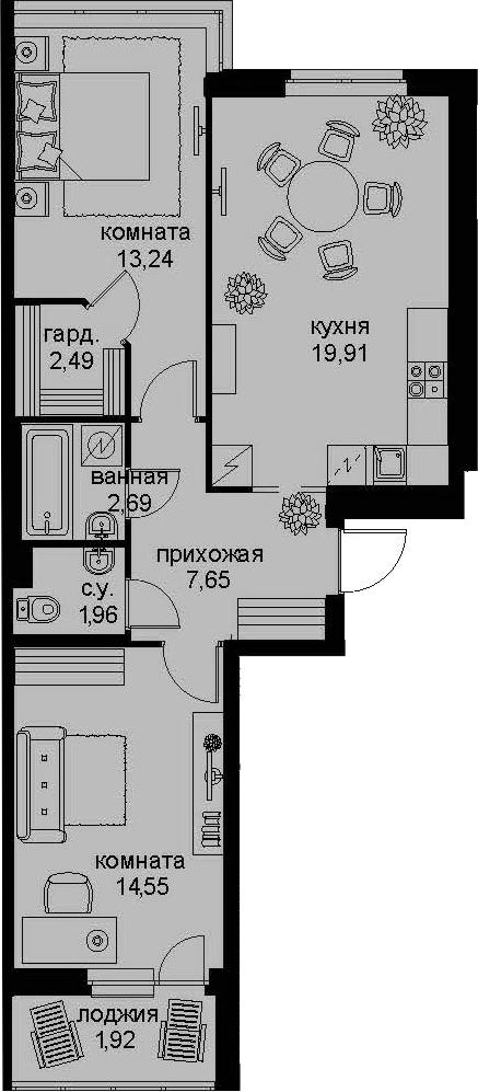 3-к.кв (евро), 68.89 м²