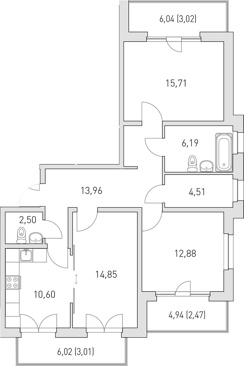3-комнатная 98 м<sup>2</sup> на 2 этаже
