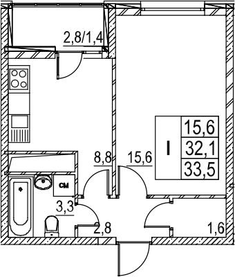 1-к.кв, 34.9 м²