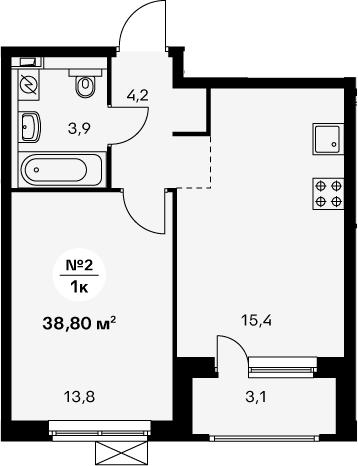 2-к.кв (евро), 40.35 м²