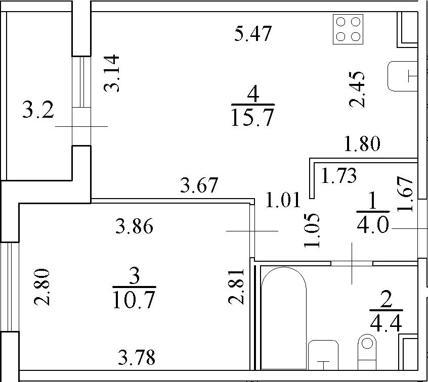 2-комнатная 38 м<sup>2</sup> на 4 этаже