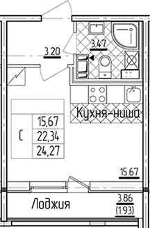 Студия 26 м<sup>2</sup> на 12 этаже