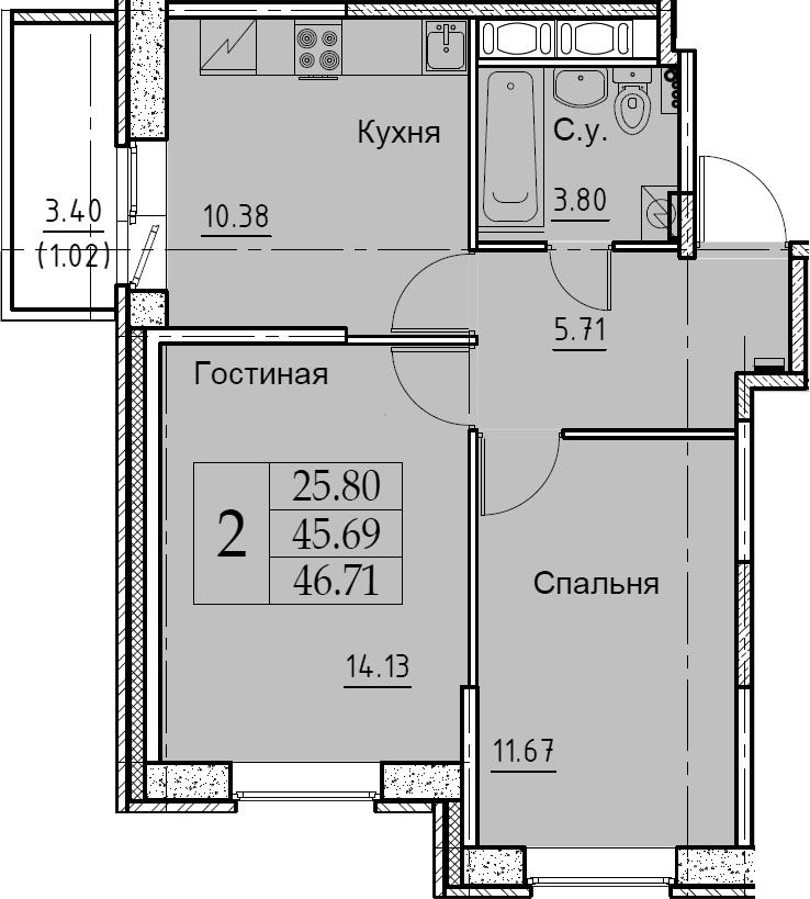 2-комнатная 49 м<sup>2</sup> на 10 этаже