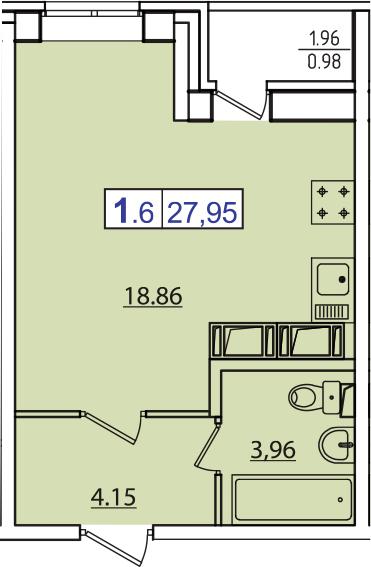 Студия, 28.93 м²