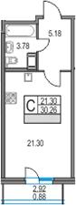 Студия 33 м<sup>2</sup> на 21 этаже