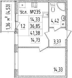 2-к.кв (евро), 41.38 м²