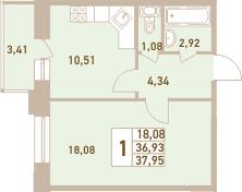 1-комнатная 40 м<sup>2</sup> на 10 этаже