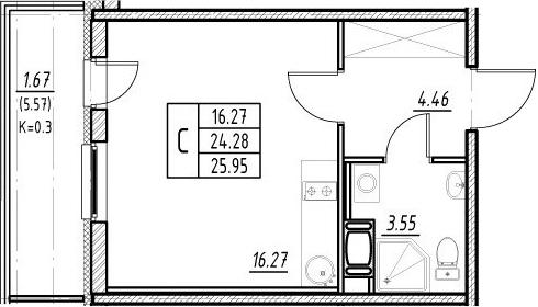 Студия 29 м<sup>2</sup> на 11 этаже