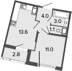 2-комнатная 35 м<sup>2</sup> на 10 этаже