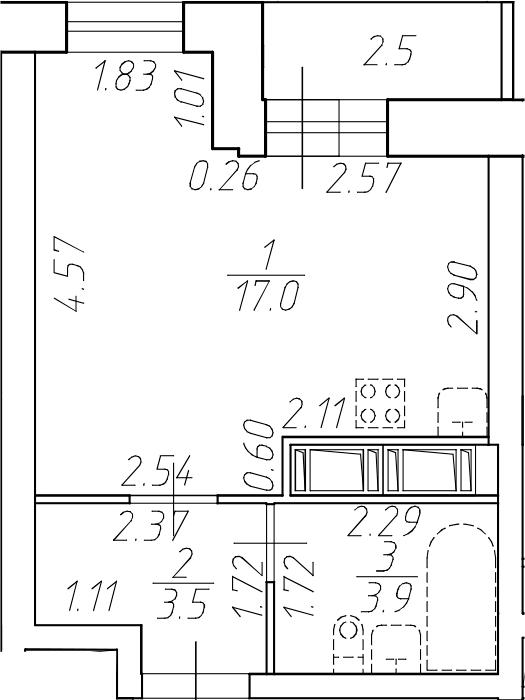 Студия 26 м<sup>2</sup> на 11 этаже