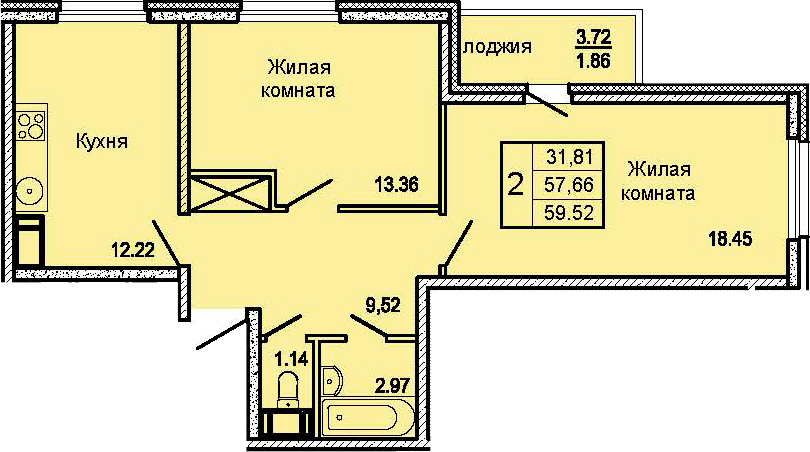 2-комнатная 61 м<sup>2</sup> на 20 этаже