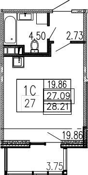 Студия, 30.23 м²