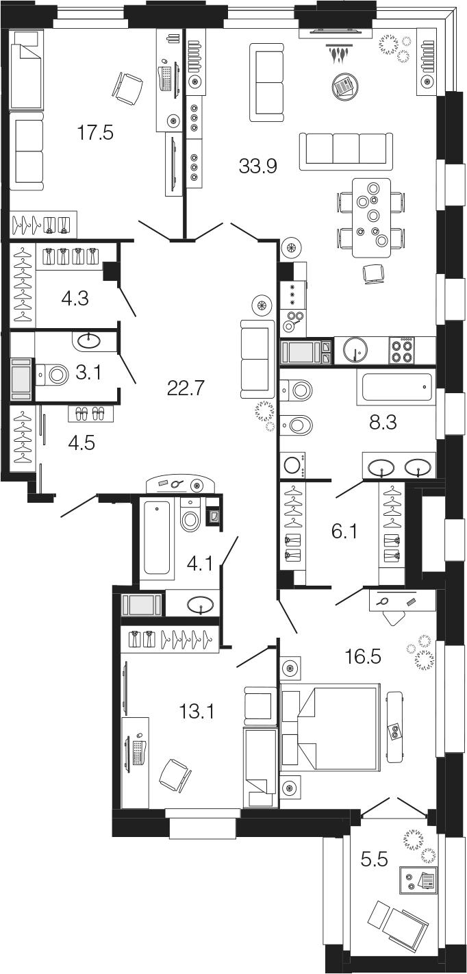 4-комнатная 139 м<sup>2</sup> на 3 этаже
