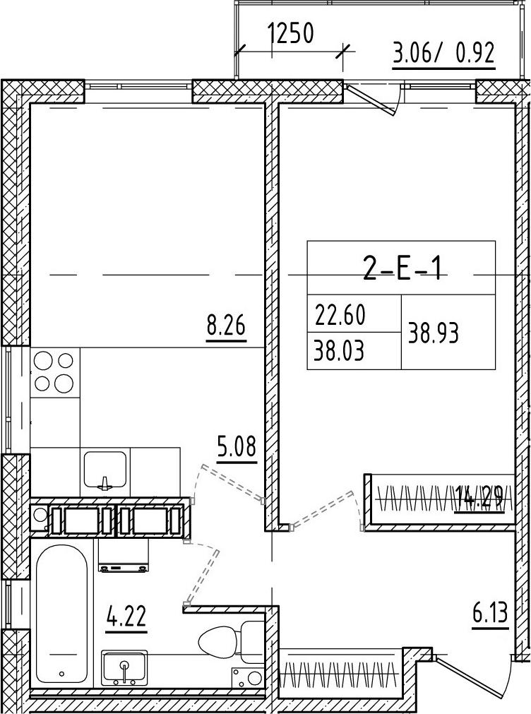 2-к.кв (евро), 40.92 м²