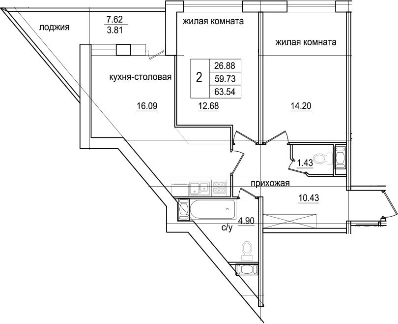 2-к.кв, 67.35 м²