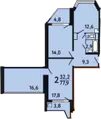 2-к.кв, 82.2 м²