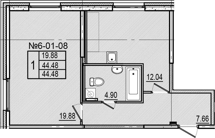 1-к.кв, 44.48 м²