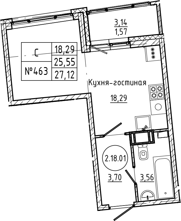 Студия 28 м<sup>2</sup> на 18 этаже