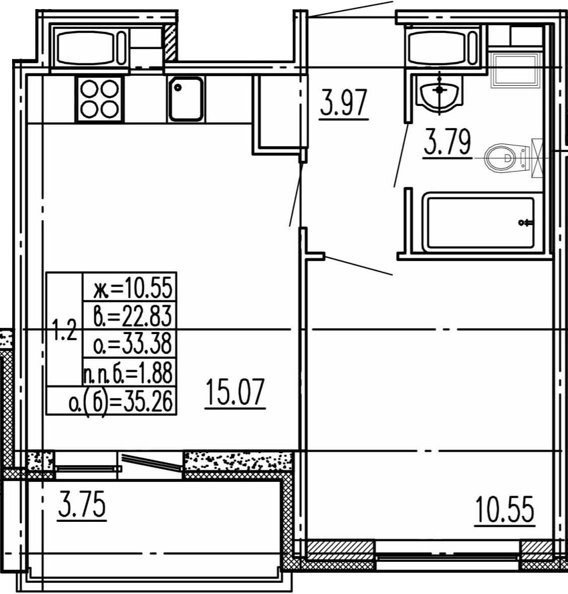 2-комнатная 37 м<sup>2</sup> на 15 этаже