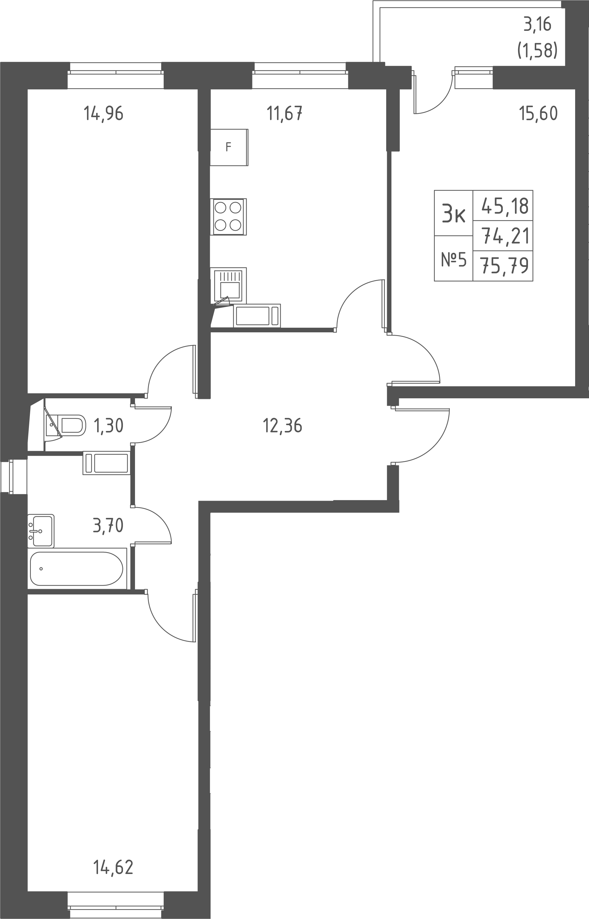 3-к.кв, 77.37 м²