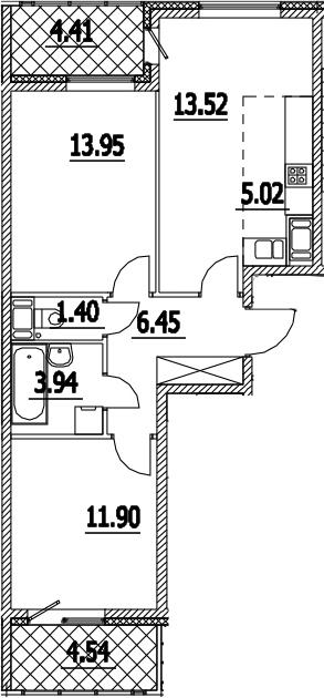 3-комнатная 65 м<sup>2</sup> на 3 этаже