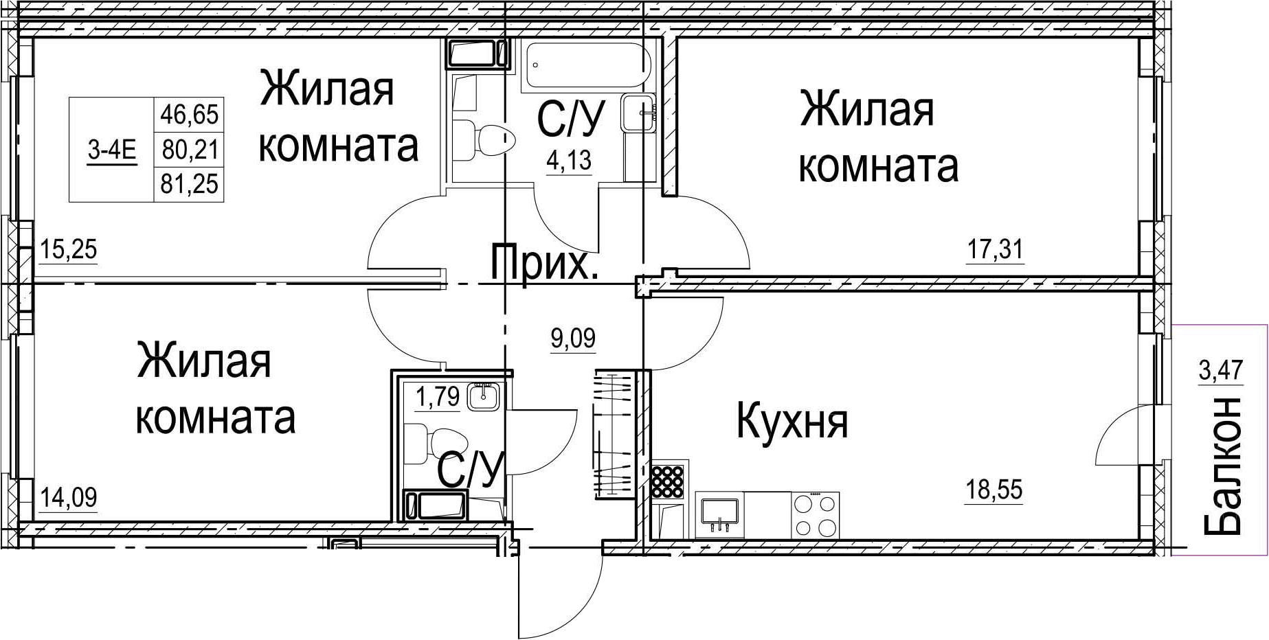 4-комнатная 83 м<sup>2</sup> на 2 этаже