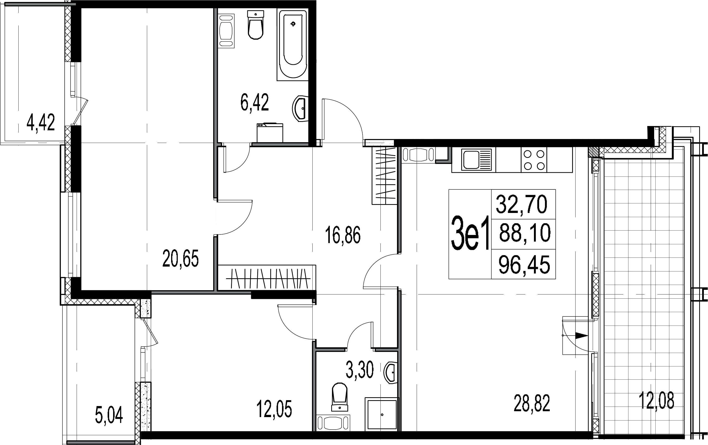 3-комнатная 109 м<sup>2</sup> на 9 этаже