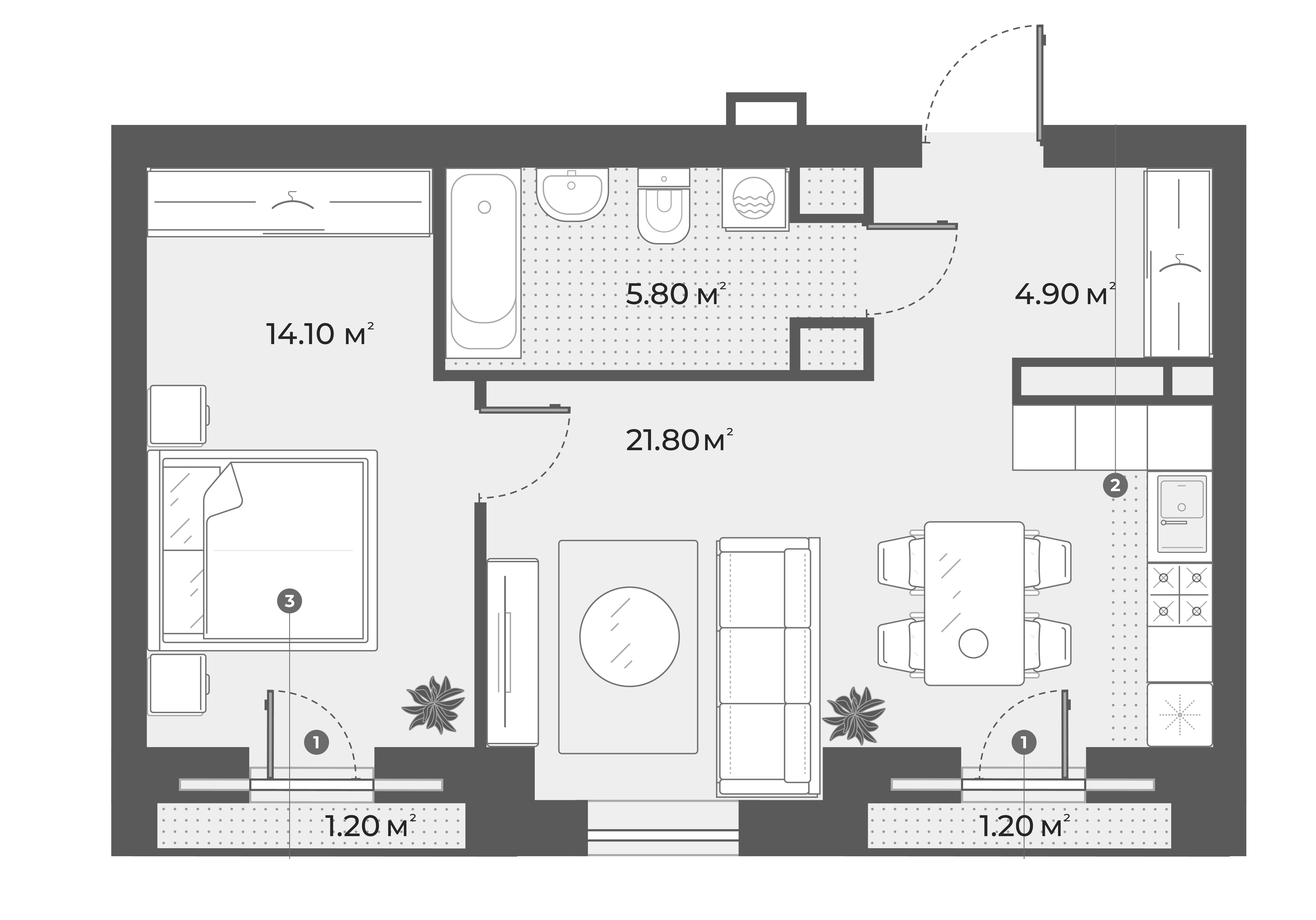2-комнатная 49 м<sup>2</sup> на 4 этаже
