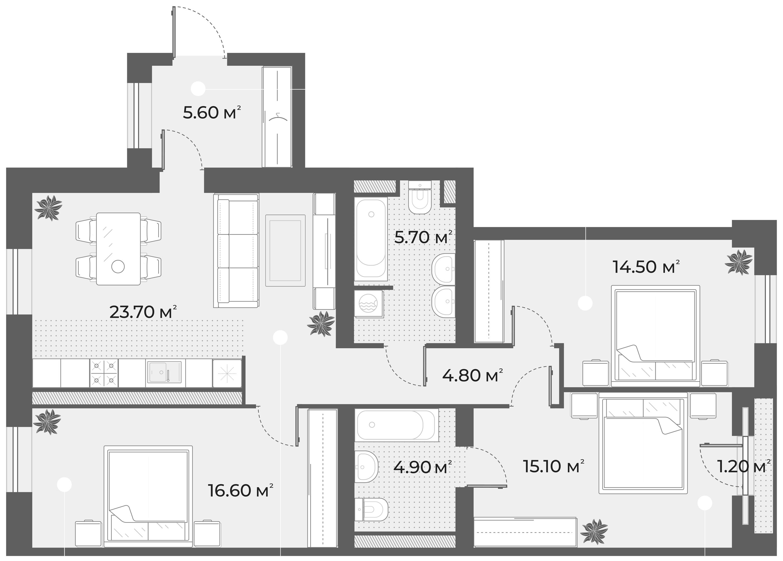 4-комнатная 92 м<sup>2</sup> на 4 этаже