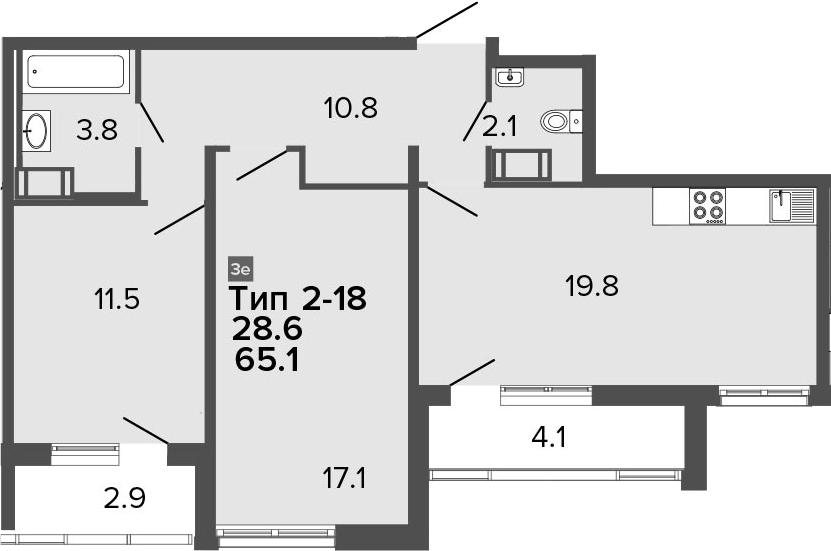 3-комнатная 72 м<sup>2</sup> на 20 этаже